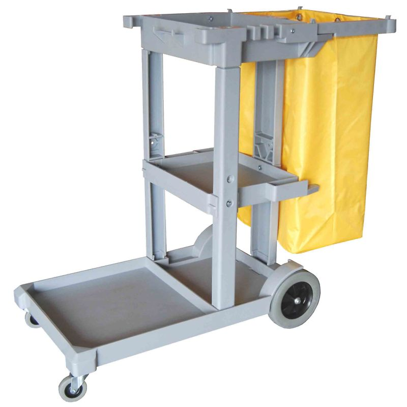 Janitor Cart with Zippered Vinyl Bag